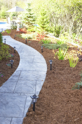This is a picture of a stone path, outdoor lights and mulch with plants along the path